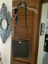Dress Barn Crossbody Purse. Black, gold tone hardware, scarf accent. Used once.