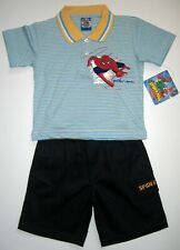 BNWT Spiderman Polo top tshirt boys cotton t-shirt and shorts kids outfit Set