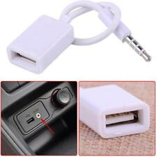 White AUX MP3 3.5mm Male Audio Plug Jack To USB 2.0 Female Converter Cord Cable