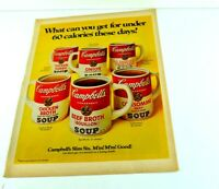 "Campbell's Mugs Condensed Chicken Broth Beef Soup Vtg Print Ad 13.5""x10"" AK"