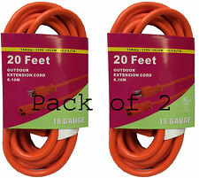 2X Heavy Duty 20'FT Bright Orange Grounded Extension Cord 16 Gauge 13AMP