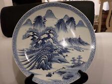 "Antique large Beautiful Japanese Imari Blue-White Porcelain Plate 16"""