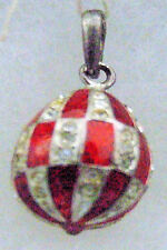 Silver Russian Handmade Faberge Egg Pendant #PD-011-078