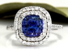 2.80 Carats NATURAL AAA TANZANITE and DIAMOND 14K Solid White Gold Ring