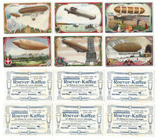 AIRSHIPS Roever Kaffee 6 x Trade Cards c1900