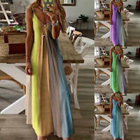 Womens Summer Floral V Neck Maxi Dress Sleeveless Boho Suspenders Party Sundress