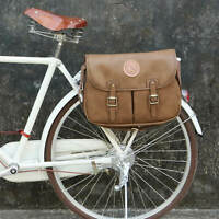 Tourbon Vintage Bicycle Bag Microfiber Rear Seat Storage Shoulder Pannier Brown