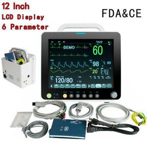 "Portable 12""Vital Signs Patient Monitor 6Parameter ECG NIBP RESP TEMP SPO2 PR CE"