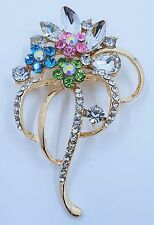 Gold Tone Multi Colour Diamond Flower Brooch