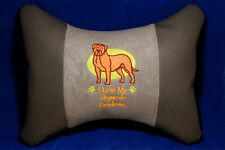 Embroidered car seat neck rest pillow - Dogue de Bordeaux. Gift for dog lovers.