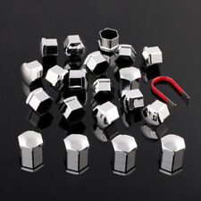 19mm Set of 20 Car ABS Plastic Caps Bolts Covers Nuts Alloy Wheel Chrome