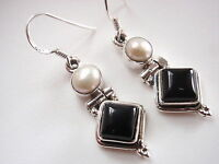 Cultured Pearl and Black Onyx 925 Sterling Silver Dangle Earrings
