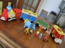 Vintage 1973 Fisher Price Little People w/ Animals ~ 4 Car Circus Train #991