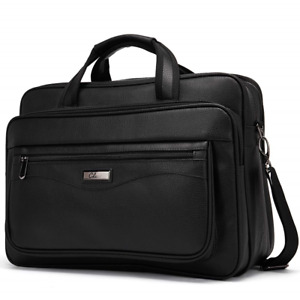 Leather Briefcase for Men Large Capacity 15.6 Inch Laptop Business Travel Bag
