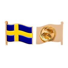 Country of Sweden Waving Flag Lapel Pin Made of Metal Souvenir