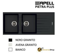 LAVELLO CUCINA INCASSO 2 VASCHE GRANITO AVENA BIANCO NERO 116 CM PIETRA PLUS