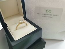 9ct yellow gold created diamond solitaire ring size Q free postage