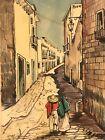Vtg Original Gouache Watercolor By G Rosales Mexican Street Scene 7x 9.75 Framed