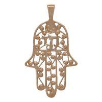 14k Rose Gold Hebrew Chai Hand Of Fatima Hamsa Hand Charm Pendant 2.2g