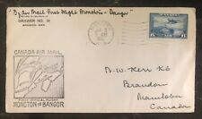 1941 Moncton NB Canada First Flight Airmail Cover to Bangor Maine