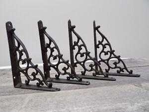 4 Antique Style Shelf Brace Wall Bracket Cast Iron Brackets Vine Corbels
