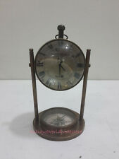 Antique  Table Clock With  Antique Compass