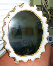 "FAB Mid Century Vanity Table Oval Wood Mirror Gold&White18""x14.5"" Made in Italy"