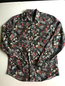 Calibre mens long sleeve black floral shirt Size M