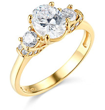 1.95 Ct Oval Cut 3-Stone Past Present Future Ring Real Solid 14K Yellow Gold