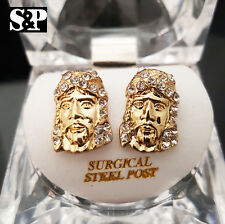 MEN ICED OUT 14K GOLD PLATED HIP HOP CZ JESUS FACE MICRO PAVE EARRINGS