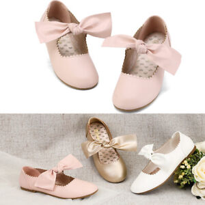 Girls Kid Slip On Flats Dress Shoes Strap Mary Jane Shoes Flat Shoes Size Pink