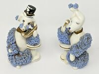 Pair Of Poodles Talking On The Phone, Blue And White Ceramic Vintage 50's Kreiss