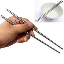 Durable 1Pair Chinese Stylish Non-slip Design Stainless Steel Chopsticks Fine