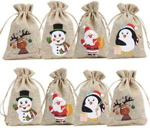 12 Christmas Linen Bags with Drawstrings Christmas Burlap Goody Gift Bags Xmas