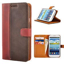 Premium Zweifarbige Echtes Ledertasche Schutzhülle Wallet Flip Case Mix Farben