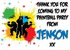129 - 21 Paintball party or any text Personalised Bag Stickers Labels