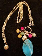 Marie Chavez Tribal Goldtone Chain Pendant Necklace Turquoise Coral Tones