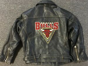 Vtg 80s Chicago Bulls Leather Jacket Kids XL 90s Jersey Pippen Rodman