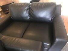 Black PlushLeather Sofa Lounge Suite