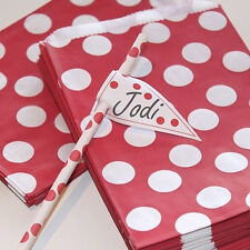 Party Bags Red and White Polka Dot Pk 24