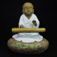 Chinese Art Pottery Wucai Porcelain Zither Harps Buddhist Monk Statue Sculpture