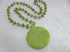 WONDERFUL Vintage MEXICAN Aztec Calendar GREEN Jade Gemstone NECKLACE