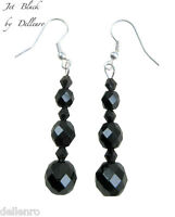 ✫JET BLACK✫ SILVER PLATED CRYSTAL DROP DANGLE EARRINGS