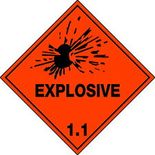 Explosive 1.1   Sign Safety Dangerous Goods Placard Metal 270x270mm