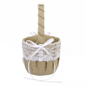 Vintage Hessian Lace Wedding Flower Girl Basket for Rustic Ceremony Supply