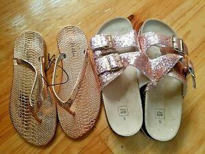 2 pair glitter glam Rose gold slip on sandal shoes size 8 39 NEW