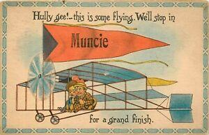 1914 INDIANA POSTCARD: SOME FLYING - GRAND FINISH - BANNER FLAG MUNCIE, IN
