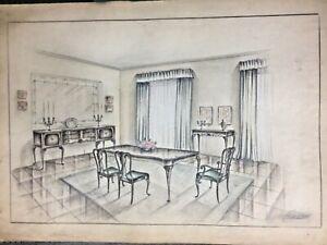 Antique dinning room drawing design, c.1940