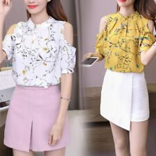 Women Floral Print Short Sleeve Cold Shoulder Round Neck Chiffon Blouse Tops Tee