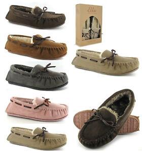 Ella Womens Slippers Ladies Ella Faith Moccasin Memory Foam Fur Slippers Size